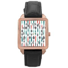 Spoon Fork Knife Pattern Rose Gold Leather Watch  by Sapixe