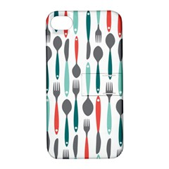 Spoon Fork Knife Pattern Apple Iphone 4/4s Hardshell Case With Stand by Sapixe