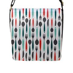 Spoon Fork Knife Pattern Flap Messenger Bag (l)  by Sapixe