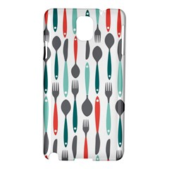 Spoon Fork Knife Pattern Samsung Galaxy Note 3 N9005 Hardshell Case by Sapixe