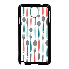 Spoon Fork Knife Pattern Samsung Galaxy Note 3 Neo Hardshell Case (black) by Sapixe
