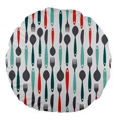 Spoon Fork Knife Pattern Large 18  Premium Flano Round Cushions by Sapixe