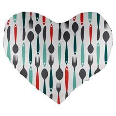 Spoon Fork Knife Pattern Large 19  Premium Flano Heart Shape Cushions by Sapixe