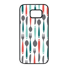 Spoon Fork Knife Pattern Samsung Galaxy S7 Edge Black Seamless Case by Sapixe