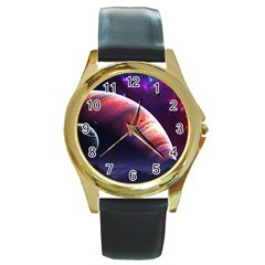 Space Art Nebula Round Gold Metal Watch by Sapixe