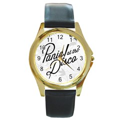 Panic At The Disco Flowers Round Gold Metal Watch by Samandel