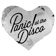 Panic At The Disco Flowers Large 19  Premium Flano Heart Shape Cushions by Samandel