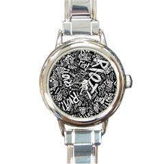 Panic At The Disco Lyric Quotes Retina Ready Round Italian Charm Watch by Samandel