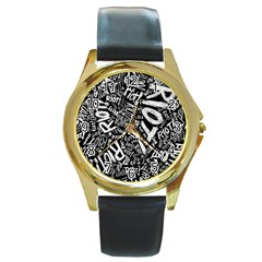 Panic At The Disco Lyric Quotes Retina Ready Round Gold Metal Watch