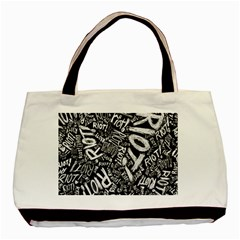 Panic At The Disco Lyric Quotes Retina Ready Basic Tote Bag by Samandel