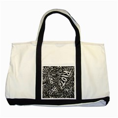Panic At The Disco Lyric Quotes Retina Ready Two Tone Tote Bag by Samandel