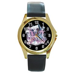 Panic At The Disco Art Round Gold Metal Watch by Samandel
