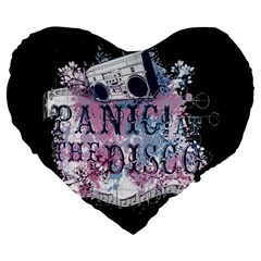 Panic At The Disco Art Large 19  Premium Flano Heart Shape Cushions by Samandel