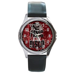 Panic At The Disco Poster Round Metal Watch by Samandel