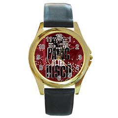 Panic At The Disco Poster Round Gold Metal Watch by Samandel