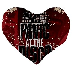 Panic At The Disco Poster Large 19  Premium Heart Shape Cushions by Samandel