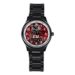 Panic At The Disco Poster Stainless Steel Round Watch by Samandel