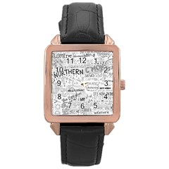 Panic At The Disco Lyrics Rose Gold Leather Watch  by Samandel