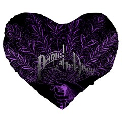 Panic At The Disco Large 19  Premium Flano Heart Shape Cushions by Samandel