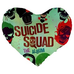 Panic! At The Disco Suicide Squad The Album Large 19  Premium Flano Heart Shape Cushions by Samandel