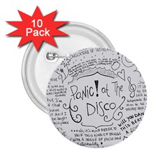 Panic! At The Disco Lyrics 2 25  Buttons (10 Pack)  by Samandel