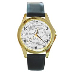 Panic! At The Disco Lyrics Round Gold Metal Watch by Samandel