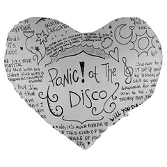 Panic! At The Disco Lyrics Large 19  Premium Flano Heart Shape Cushions by Samandel