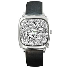 Panic! At The Disco Lyric Quotes Square Metal Watch by Samandel