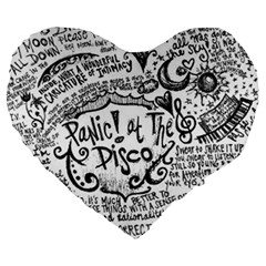 Panic! At The Disco Lyric Quotes Large 19  Premium Flano Heart Shape Cushions by Samandel