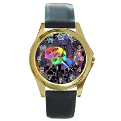 Panic! At The Disco Galaxy Nebula Round Gold Metal Watch by Samandel