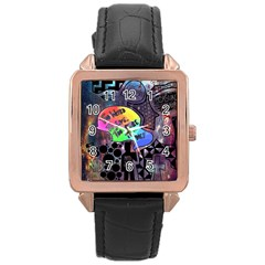 Panic! At The Disco Galaxy Nebula Rose Gold Leather Watch  by Samandel