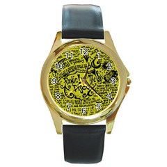 Panic! At The Disco Lyric Quotes Round Gold Metal Watch by Samandel