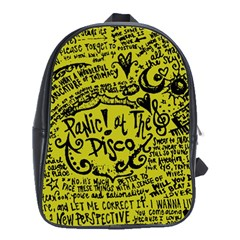 Panic! At The Disco Lyric Quotes School Bag (xl) by Samandel