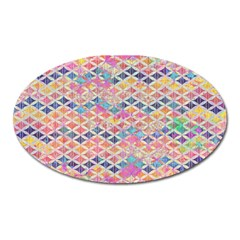 Zigzag Flower Of Life Pattern2 Oval Magnet by Cveti