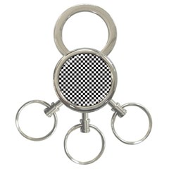 Checker Black And White 3 Ring Key Chains by jumpercat