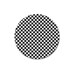 Checker Black And White Magnet 3  (round) by jumpercat