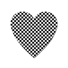 Checker Black And White Heart Magnet by jumpercat