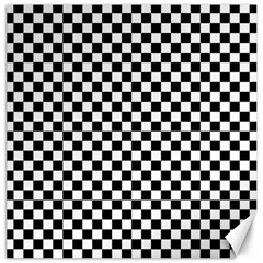 Checker Black And White Canvas 16  X 16   by jumpercat