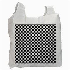 Checker Black And White Recycle Bag (two Side)  by jumpercat