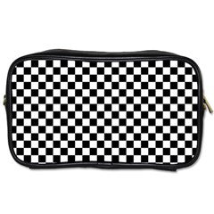 Checker Black And White Toiletries Bags 2 Side by jumpercat