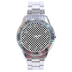 Checker Black And White Stainless Steel Analogue Watch by jumpercat