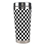 Checker Black and White Stainless Steel Travel Tumblers Left