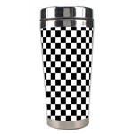 Checker Black and White Stainless Steel Travel Tumblers Center