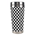 Checker Black and White Stainless Steel Travel Tumblers Right
