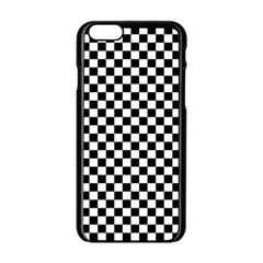 Checker Black And White Apple Iphone 6/6s Black Enamel Case by jumpercat