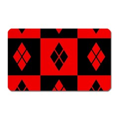 Red And Black Pattern Magnet (rectangular)