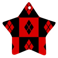 Red And Black Pattern Star Ornament (two Sides)