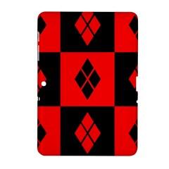 Red And Black Pattern Samsung Galaxy Tab 2 (10 1 ) P5100 Hardshell Case  by Samandel
