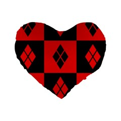 Red And Black Pattern Standard 16  Premium Flano Heart Shape Cushions