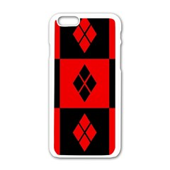 Red And Black Pattern Apple Iphone 6/6s White Enamel Case by Samandel